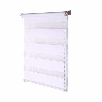 Double Roller Blind, white striped 150 cm x 75 cm width