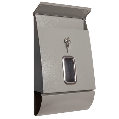 Letterbox 'Jet-Box' with newspaper tube, colour grey