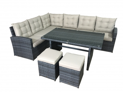Garten lounge La Palma in grau (Sitzecke mit Esstisch)