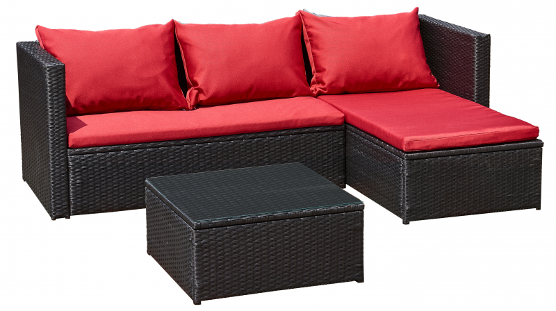 Bergen III schwarz - rot Gartenmöbel Lounge