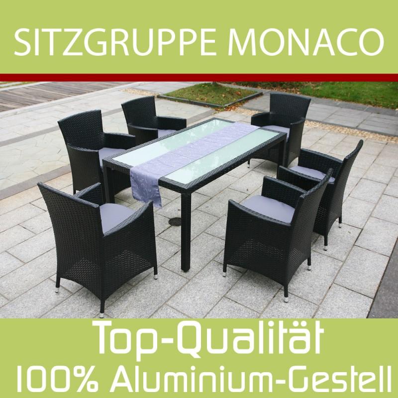 Gartenset Essgruppe Monaco in schwarz