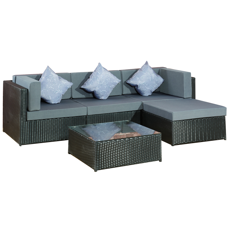 garten lounge gruppe bergen gartenmoebel polyrattan und holz m bel von jet line. Black Bedroom Furniture Sets. Home Design Ideas
