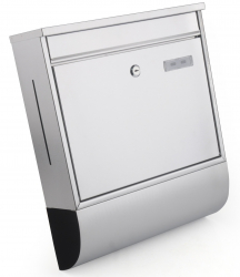 Jet-Line Letterbox with house number holder, brushed stainless steel