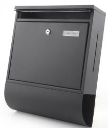 Briefkasten 'Letter' Wandbriefkasten Edelstahl schwarz mit Sichtfenster und Zeitungsfach