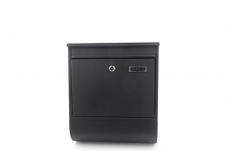 Jet-Line Letterbox with house number holder, matted black