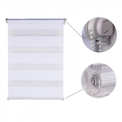 Double Roller Blind, white striped 150 cm x 70 cm width