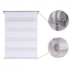 Double Roller Blind, white striped 150 cm x 90 cm width