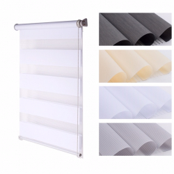 Double Roller Blind, white striped 150 cm x 120 cm width
