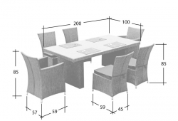 Garden furniture Dining Set Rügen in black