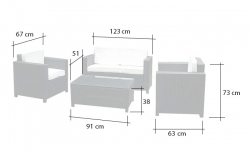 Garden furniture polyrattan lounge in black