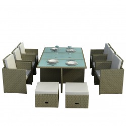 Rattan dining set Bali in grey