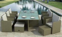 Gartenmöbel Bali Essgruppe in grau hochwertig mit Alu Rahmen Pol