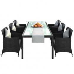 Garden furniture dining Set Nizza in black