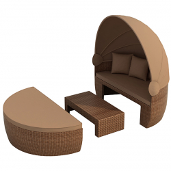Sun day bed 'Bozen' brown/brown