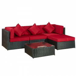 Garden furniture Lounge Set Bergen II black-red
