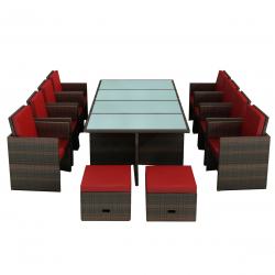 Garden furniture Dining Set Bogota brown-red
