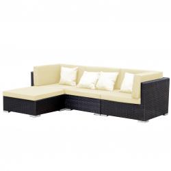 Grupo de asientos de jardín Lounge Bergen en negro-beige