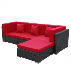 Garten Lounge Bergen schwarz-rot aus Aluminium Gartenmöbel