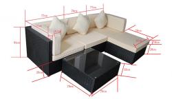 Garden furniture lounge Set Bergen II in black-grey