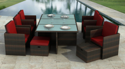 Rattan dining set Bali in brown-red