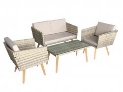Juego de muebles de jardín Cassis amarillo-gris-beige Lounge