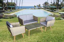 Gartenset Cassis gelb-grau-beige meliert Lounge Garten Set Neu