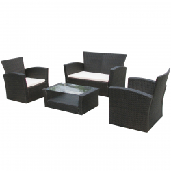 Garden furniture Dining Set Lyon in black