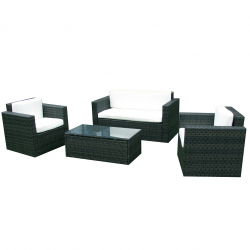 Garden furniture polyrattan lounge in black