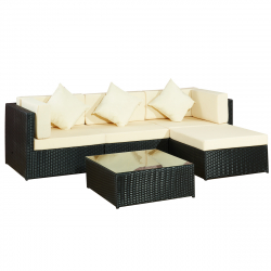 Garden furniture Lounge Set BergenII black-beige