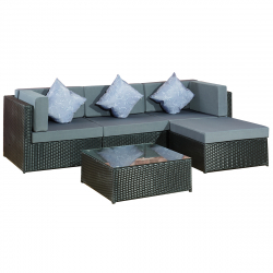 Garden furniture lounge Set Bergen II in black-grey