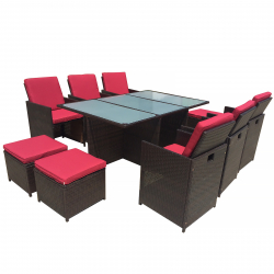 Garden furniture Bali III dining Set in brown/red